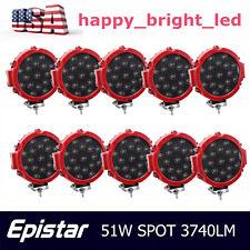 10X 7inch 51w Round LED Work Light Spot Slim Offroad Fog Driving Jeep Bumper 4WD
