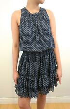 Forever 21 Women's Navy Blue White Floral Blouson Ruffle Layered Dress Small