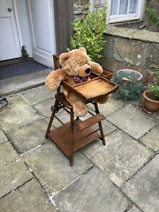 Edwardian metamorphic mahogany child's high chair and play chair