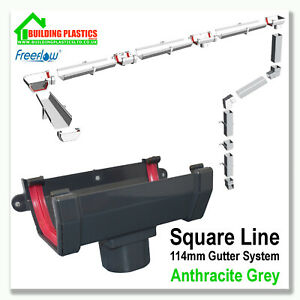 SQUARE LINE GUTTERING & FITTINGS ANTHRACITE GREY | 114mm SYSTEM| FREEFLOW