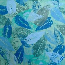 """Blue Green Leaves Abstract Wall Art Work Original Painting Signed 8"""" Sq Gift"""