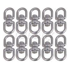 10PCS Silver 304 Stainless Steel M4 Durable Double D Shape Eye Swivel