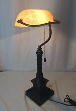 "Bankers Desk Lamp Frosted Glass Shade Brown 22"" Vtg Retro Table Office Student"