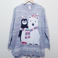 Holiday Time Grey Holiday Penguin & Polar Bear Ugly Christmas Sweater 1X 16W