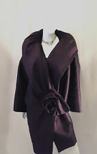 DONNA KARAN LONG POLYESTER AND SILK DEEP EGGPLANT ROSE COAT FORMAL MEDIUM