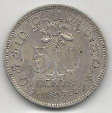 CEYLON, SRI LANKA, 1893, 50 CENTS, SILVER, KM#96, ALMOST UNCIRCULATED