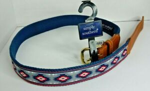 Simply Southern Native American Pattern Navy Blue Ribbon Belt Multiple Sizes NEW