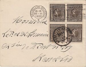 Belgium 1920 Olympic Games 15c block of 4 on cover Olympic machine cancel