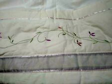 "Vintage Bedskirt King Size Ivory w/Embroidery Pink/Lilac 78"" x  80"" NEVER USED !"