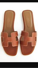 NEW HERMES GOLD BROWN ORAN OASIS SANDAL SLIPPER 38.5 US 7.5 SHOES FLATS LOAFER