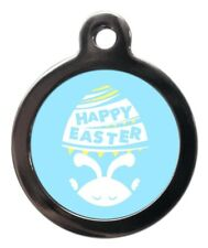 Pet Id tag - Easter blue picture dog & cat Tag 32mm or 24mm personalised
