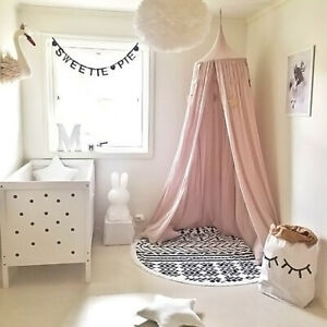 US_ BL_ JW_ Children Baby Bed Canopy Round Dome Cotton Mosquito Net Nursery Room