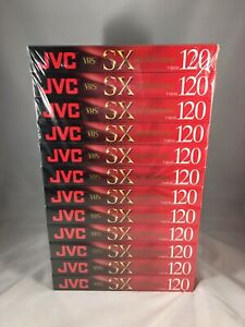 NEW JVC VHS SX-120 High Performance  T-120SX Sealed Blank Tapes 12 Pack Dozen