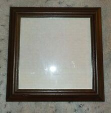 "Dark wood square frame, 8"" x 8"", regular clear glass, sawtooth hanger"