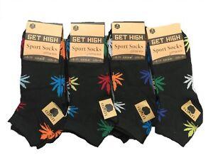 Men's Trainer Socks Ganja Weed Leaf Print Cannabis Rich Cotton socks Size 6-11