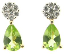 Diamonds stud earrings peridot 9ct yellow gold 0.14ct round cluster pear peridot
