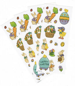 4 Small Sheets Easter Bunny Duck Eggs Stickers!