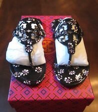 AUTH NIB TORY BURCH MILLER PATENT LEATHER SANDALS BLACK STAMPED FLORAL SIZE 6.5