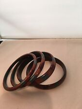 Vintage  Lucite Bangle Bracelets Shades of  Brown and Blue Striped Marblized