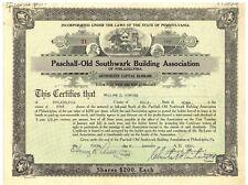 Paschall-Old Southwark Building Association of Philadelphia. Stock Certificate