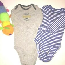 Carter's Boys Bundle of 2 Long Sleeve Striped Gray Built Tough 12 M Bodysuits