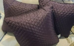 3pc Set CROSCILL Chambord Rose Cassis Solid Amethyst Toss Decorative Pillows