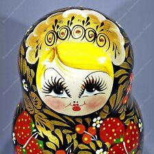 "8"" BIG KHOKHLOMA TRADITIONAL RUSSIAN MATRYOSHKA BABUSHKA NESTING 10 DOLLS 10PCS"