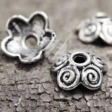 100pcs Metal Beads End Caps Tibetan Silver Findings Flower 10x10x4mm IW