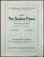 More details for the student prince. bentallian operatic society, richmond theatre programme 1936