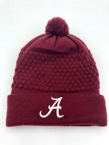University of Alabama Beanie Pom Pom Toboggan Hat Cap Womens Burgundy