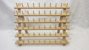 6 TIER WOODEN SEWING SPOOL HOLDER HOLDS 60 SPOOLS OR BOBBINS - THREAD HOLDER