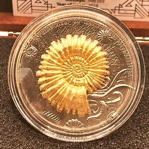 "Niue 2018 Evolution of Earth ""Ammonoidea"" 2 oz Ruthenium Plating Silver Coin"