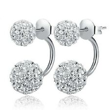 Disco Ball Dangle Silver Stud Earrings For Women Crystal CZ Fashion Dual