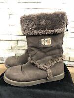 Guess Ladies Size 6 UK 39 EU Black Faux Fur Suede Ankle Boots