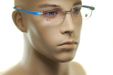 TAG HEUER RIMLESS REFLEX TITANIUM 3942 010 Men Square Eyeglasses Glasses BLUE