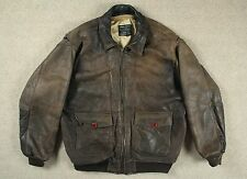 VTG AVIREX US NAVY 'MOTHER' TYPE G-1 LEATHER FLIGHT BOMBER JACKET LARGE