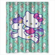 Hello Kitty Riding a Unicorn Custom Bathroom Shower Curtain 60x72 Inches
