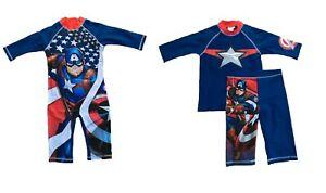 Boys Kids Sun Suit T Shirt Shorts Set 2 Pc Captain America Size 4 5 6 7 8 9 10