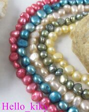 5 str Mixed colour rounded flat-sided pearl beads M1834