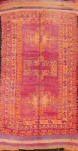 Antique Geometric Traditional Moroccan Oriental Runner Rug Hand-knotted 5'x10'