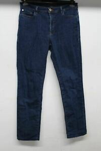 TRUSSARDI Ladies Blue High Rise Zip Fly Gold Tone Slim Fit Jeans Size W30 L28