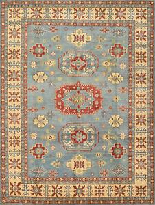 Geometric Kazak 9'x12' Blue Wool Hand-Knotted Oriental Rug