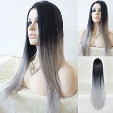 Damen Lange Gerade Glatt Haar Volle Perücke Cosplay Kostüm Schwarz+Grau Wigs Hot