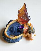 Dragon bleu orange mignon gentil en résine collector figurine fantasy