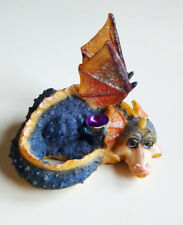 Dragon bleu orange mignon gentil en résine collector figurine fantasy