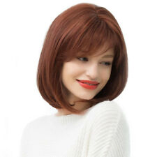 Straight Shoulder Bob Human Hair Wigs Women's Cosplay Daily Wig Auburn Red