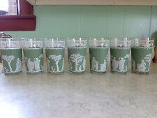 LOT 7 VINTAGE FIGURAL DRINKING GLASSES SAGE GREEN WHITE 50'S OR 60'S JASPERWARE