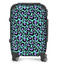 Turquoise Leopard Print Designer Suitcase, Travel, Cabin Bag, Luggage, Holiday
