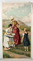 1890s Antique Print Cute Victorian Scene Funny Girl Pose The Unwilling Model