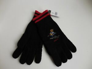 POLO RALPH LAUREN BEAR GLOVES KNIT BLACK EMBROIDERED SKIING BEAR NWT ONE SIZE